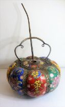 A large Chinese ceramic and metal mounted melon-shaped pot and lid (as a pipe); each panel hand-