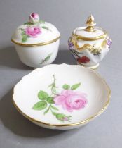 A fine Meissen porcelain circular pot, cover and stand, each piece hand-decorated with various