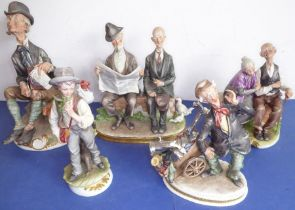 Five well modelled ItalianCapodimonte-style figures; some with impressed date marks to the