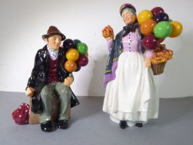 Two hand-decorated Royal Doulton porcelain figure models: 'Biddy Pennyfarthing' (H.N. 1843) and 'The