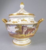 A good early to mid-19th century porcelain potpourri and cover; in Spode-style with gilded cover,