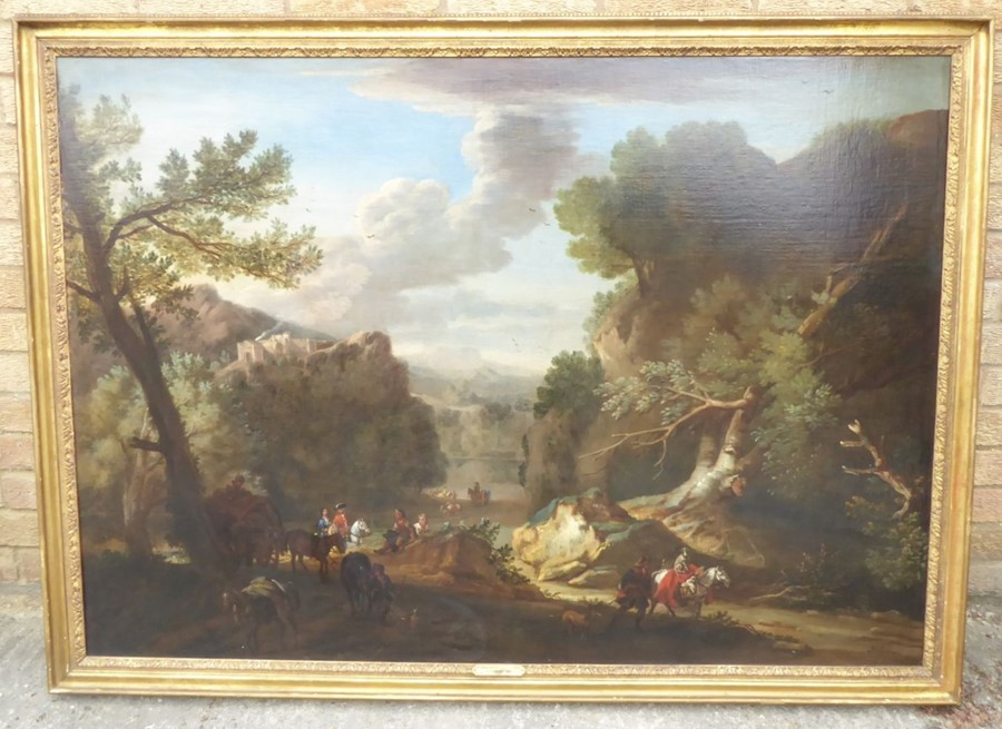 John Wootton ( British 1678-1764) - 'A Romantic Landscape',signed oil on canvas,39 x 54 ins (99 - Image 20 of 21