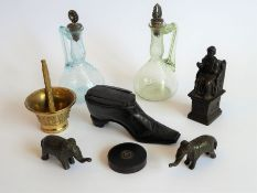 An interesting collection of bijouterie to include a wooden snuff box modelled and carved as a