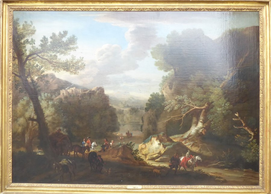 John Wootton ( British 1678-1764) - 'A Romantic Landscape',signed oil on canvas,39 x 54 ins (99
