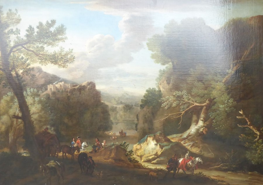 John Wootton ( British 1678-1764) - 'A Romantic Landscape',signed oil on canvas,39 x 54 ins (99 - Image 2 of 21