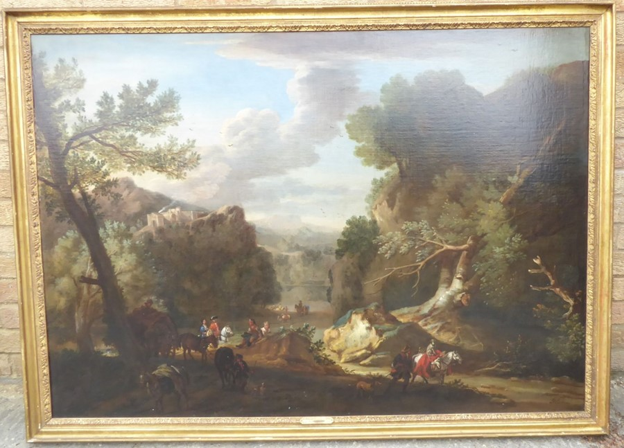 John Wootton ( British 1678-1764) - 'A Romantic Landscape',signed oil on canvas,39 x 54 ins (99 - Image 21 of 21
