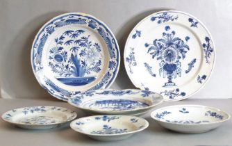Delft - three bowls, 18th century, all three with chrysanthemums in vases, another with flowers,