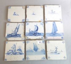 Nine tiles; 18th century, painted with a variety of subjects including unusually a diving duck, well