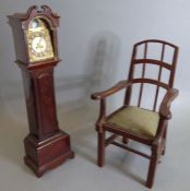 Two pieces of miniature furniture: a late 19th century (in late 18th century-style) mahogany