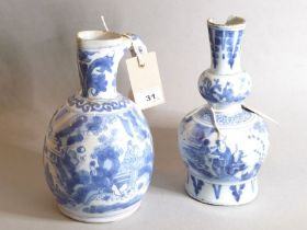 Delft - a jug of globular form, circa 1680, after the Chinese/Japanese original, painted with