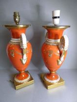 A pair of 19th century Paris-style porcelain vases in the form of two-handled urns; the handles with