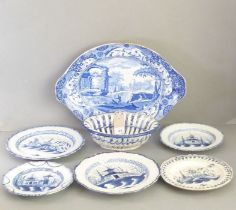 Creamware, five plates; four with frilled rims, mid 18th century, Leeds and elsewhere, painted in
