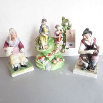 An early 19th century bocage figure with male and female playing musical instruments. Together