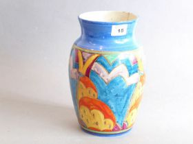 A Canford Pottery vase hand decorated with stylised shapes in the Art Deco manner, signed to