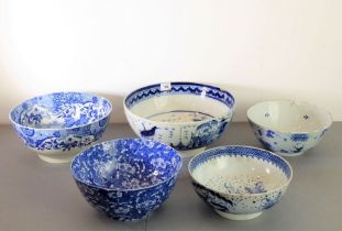English Delftware - five bowls, circa 1750; two pearlware, one with a deer and large birds in a