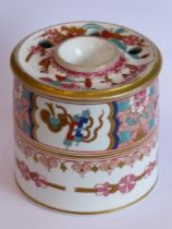 A fine early 19th century Spode inkwell of circular form; hand gilded and decorated in the