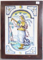 A large rectangular Dutch Delft panel in Renaissance style; typical palette with a goddess playing a
