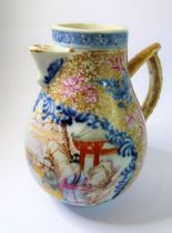 An 18th century Chinese porcelain 'sparrow beak' jug; the front panel hand decorated with figures