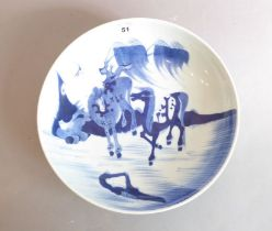A Chinese porcelain bowl (probably Yongzheng period (early 18th century). Hand-decorated in