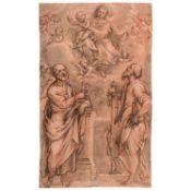 ÉCOLE ITALIENNE DU XVIIe SIÈCLE L'apparition de la Vierge à Saint Pierre et Saint Paul