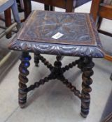 19TH CENTURY CARVED OAK STOOL ON BARLEY TWIST SUPPORTS 45 CM TALL