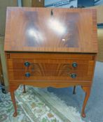 MAHOGANY BUREAU WITH FALL FRONT OVER 2 DRAWERS ON SHAPED SUPPORTS