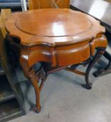 20TH CENTURY CHINESE MAHOGANY CIRCULAR TOPPED TABLE OF SHAPED SUPPORTS, MAX.