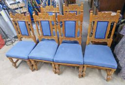 SET OF 6 LATE 19TH CENTURY OAK CHAIRS ON TURNED SUPPORTS