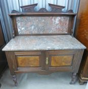 LATE 19TH CENTURY MARBLE TOPPED WALNUT WASH STAND WITH 2 PANEL DOORS & TURNED SUPPORTS 107 CM WIDE
