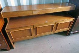 TEAK SIDEBOARD BY A.H. MCINTOSH, KIRKCALDY WITH 3 FRIEZE DRAWERS OVER 3 PANEL DOORS.