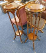 PAIR HARDWOOD POT STANDS WITH TURNED COLUMNS 101 CM TALL