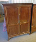 EARLY 20TH CENTURY MAHOGANY 2 DOOR WARDROBE ON BRACKET SUPPORTS