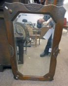 EARLY 20TH CENTURY OAK FRAMED BEVELLED EDGE MIRROR,
