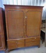 19TH CENTURY MAHOGANY WARDROBE WITH 2 PANEL DOORS OVER 4 SHORT DRAWERS ON BRACKET SUPPORTS 190CM