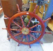 SHIPS WHEEL WITH BRASS BOSS,