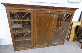 EARLY 20TH CENTURY CABINET WITH CENTRALLY SET PANEL DOOR FLANKED BY 2 ASTRAGAL GLASS DOORS - LENGTH