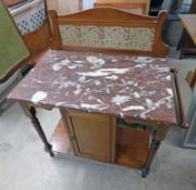LATE 19TH CENTURY MARBLE TOPPED WASH STAND WITH PANEL DOOR ON TURNED SUPPORTS,