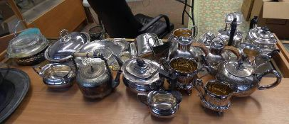 LARGE SELECTION SILVER PLATED WARE INCLUDING OVAL ENTREE DISH , BUTTER DISH, HOLDER,