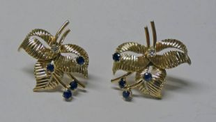 PAIR SAPPHIRE & DIAMOND SET LEAF EAR RINGS