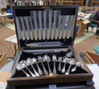 WALNUT CASED CANTEEN OF SILVER PLATED CUTLERY,