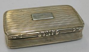 SILVER SNUFF BOX BY JOSEPH WILMORE WITH ENGINE TURNED DECORATION & GILDED INTERIOR,