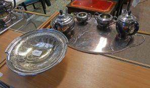 OVAL SILVER PLATED SALVER AND 4 PIECE SILVER PLATED TEASET & CIRCULAR SILVER PLATED FRUIT BOWL WITH