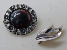 2 ARTS & CRAFTS STYLE BROOCHES SIGNED N E FROM DENMARK
