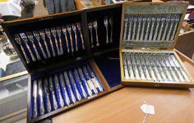 CASED SET OF 12 MOTHER OF PEARL HANDLED FRUIT KNIVES & FORKS,
