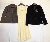 YELLOW JAEGER DRESS SIZE 10, NEW BLACK JAEGER BLAZER SIZE 10,