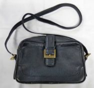 VINTAGE BURBERRY SMALL BLACK LEATHER CROSSBODY BAG WITH CHECK LINER INSIDE