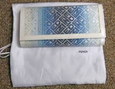 FENDI FOREVER BLUE & WHITE CANVAS WALLET