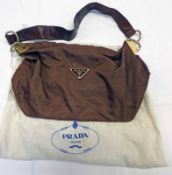 VINTAGE PRADA MILANO BROWN NYLON SHOULDER BAG WITH LEATHER STRAP