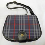 VINTAGE NAVY BURBERRY CHECK CLOTH BAG WITH BLACK LEATHER CROSSBODY STRAP