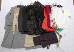 SELECTION OF LADIES COATS, CASHMERE KNITWEARS, SUIT TROUSERS,